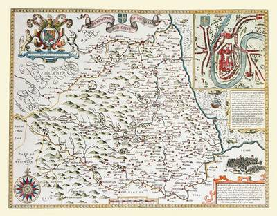 John Speeds Map of Durham 1611: Colour Print of County Map of Durham 1611 by John Speed (Sheet map, flat)