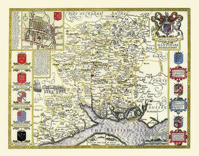 John Speeds Map of Hampshire 1611: Colour Print of County Map of Hampshire 1611 by John Speed (Sheet map, flat)