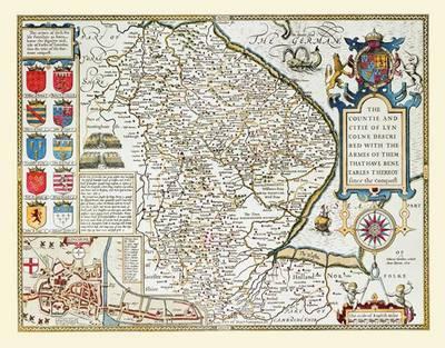 John Speeds Map of Lincolnshire 1611: Colour Print of County Map of Lincolnshire 1611 by John Speed (Sheet map, flat)