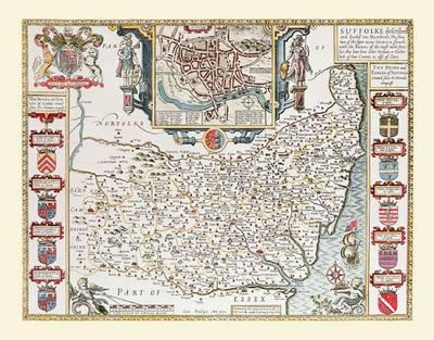 John Speeds Map of Suffolk 1611: Colour Print of County Map of Suffolk 1611 by John Speed (Sheet map, flat)