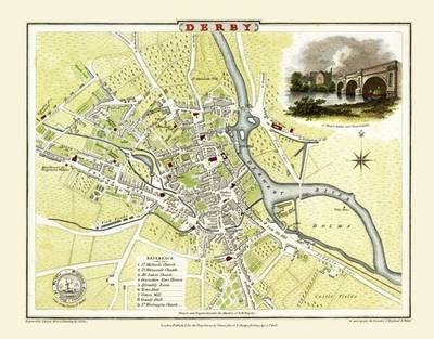 Cole and Roper Map of Derby 1806: Colour Print of Derby Town Plan 1806 by Cole and Roper (Sheet map, flat)