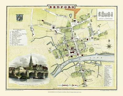 Cole and Roper Map of Bedford 1807: Colour Print of Bedford Town Plan 1807 by Cole and Roper (Sheet map, flat)
