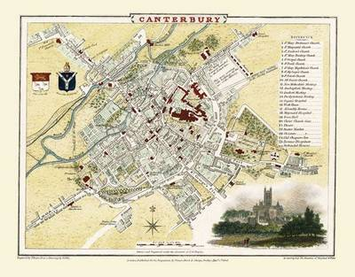 Cole and Roper Map of Canterbury 1806: Colour Print of Canterbury Town Plan 1806 by Cole and Roper (Sheet map, flat)