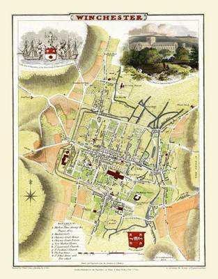 Cole and Roper Map of Winchester 1805: Colour Print of City of Winchester Plan 1805 by Cole and Roper (Sheet map, flat)