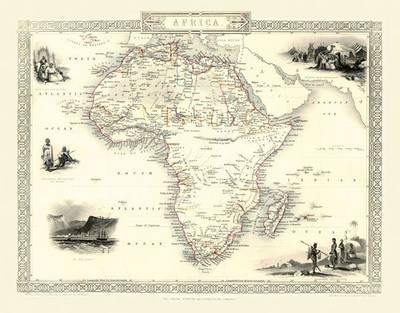 John Tallis Map of Africa 1851: Colour Print of Map of Africa 1851 by John Tallis (Sheet map, flat)