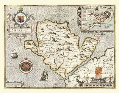 John Speeds Map of Anglesey 1611: Colour Print of Map of Anglesey 1611 by John Speed (Sheet map, flat)