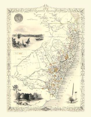 John Tallis Map of New South Wales Australia 1851: Colour Print of Map of New South Wales Australia 1851 by John Tallis (Sheet map, flat)