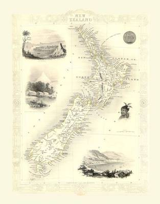John Tallis Map of New Zealand 1851: Colour Print of Map of New Zealand 1851 by John Tallis (Sheet map, flat)