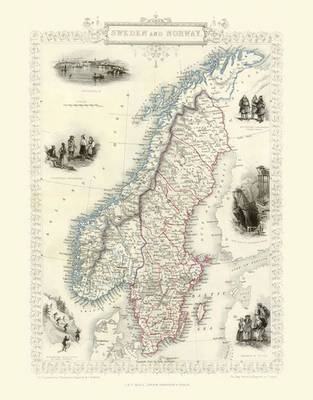 John Tallis Map of Norway and Sweden 1851: Colour Print of Map of Norway and Sweden 1851 by John Tallis (Sheet map, flat)
