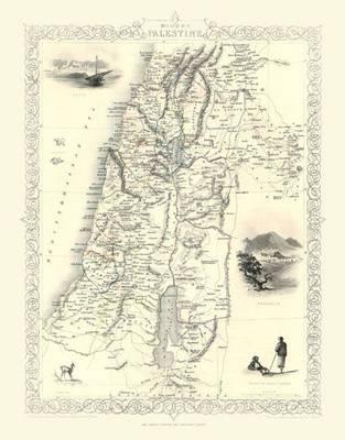 John Tallis Map of Modern Palestine 1851: Colour Print of Map of Modern Palestine 1851 by John Tallis (Sheet map, flat)