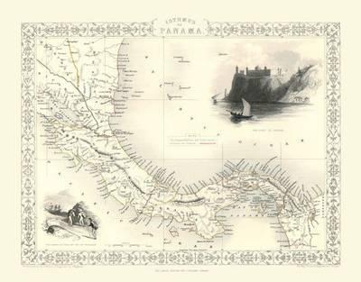John Tallis Map of Panama 1851: Colour Print of Map of Panama 1851 by John Tallis (Sheet map, flat)