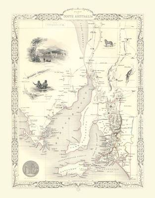 John Tallis Map of South Australia 1851: Colour Print of Map of South America 1851 by John Tallis (Sheet map, flat)