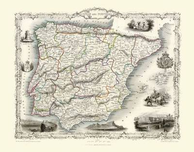 John Tallis Map of Spain and Portugal 1851: Colour Print of Map of Spain and Portugal 1851 by John Tallis (Sheet map, flat)