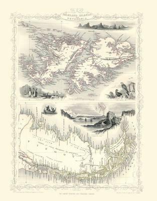 John Tallis Map of Tasmania 1851: Colour Print of Van Diemens Land or Tasmania 1851 by John Tallis (Sheet map, flat)