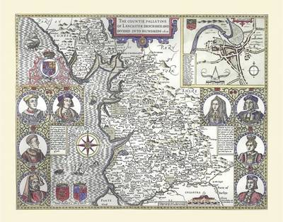 """John Speed Map of Lancashire 1611: 30"""" x 25"""" Large Photographic Poster Print of the County of Lancashire 1611 (Sheet map, rolled)"""