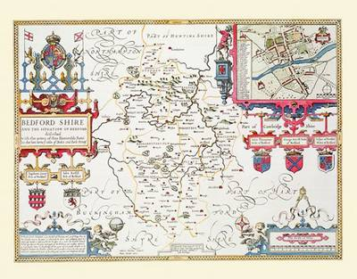 """John Speed Map of Bedfordshire 1611: 30"""" x 25"""" Large Photographic Poster Print of the County of Bedfordshire - England (Sheet map, rolled)"""