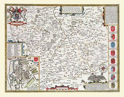 "John Speed Map of Leicestershire 1611: 30"" x 25"" Large Photographic Poster Print of the County of Leicestershire - England (Sheet map, rolled)"