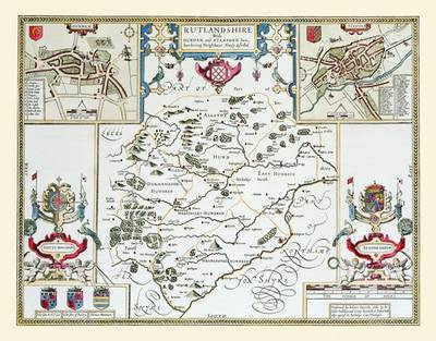 """John Speed's Map of Rutlandshire 1611: 30"""" x 25"""" Large Photographic Poster Print of Rutlandshire - England (Sheet map, rolled)"""