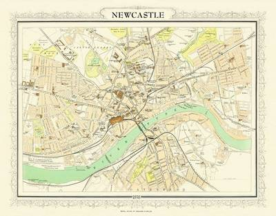 Map of Newcastle 1898: Photographic Print of Map of Newcastle 1898 (Sheet map, flat)