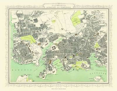 Collins Map of Plymouth and Devonport 1898: Colour Print of Map of Plymouth and Devonport 1898 (Sheet map, flat)