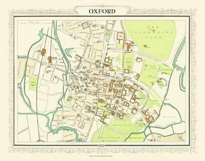 John Bartholomew's Map of Oxford 1898: Colour Print of Map of Oxfordshire 1898 (Sheet map, flat)