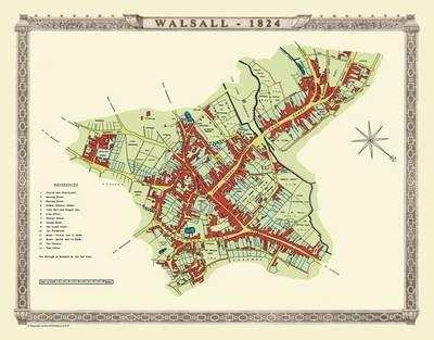 Old map of the town of walsall 1824 by mapseeker archive publishing old map of the town of walsall 1824 masons plan of walsall 1824 historic gumiabroncs Choice Image