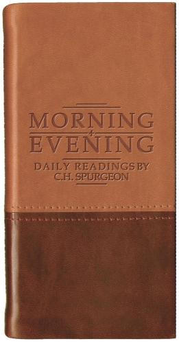 Morning And Evening - Matt Tan/Burgundy - Daily Readings (Leather / fine binding)