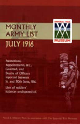Supplement to the Monthly Army List July 1916 2003 (Hardback)
