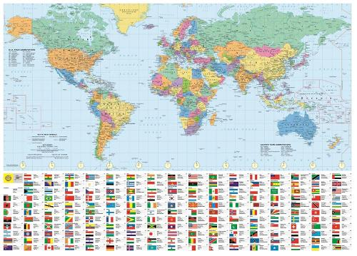 Philip's RGS World Wall Map (with Flags): Paper - Philip's Sheet Maps (Sheet map)
