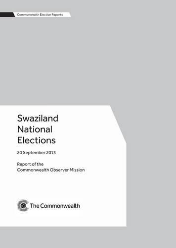 Swaziland National Elections, 20 September 2013 - Commonwealth Election Reports (Paperback)