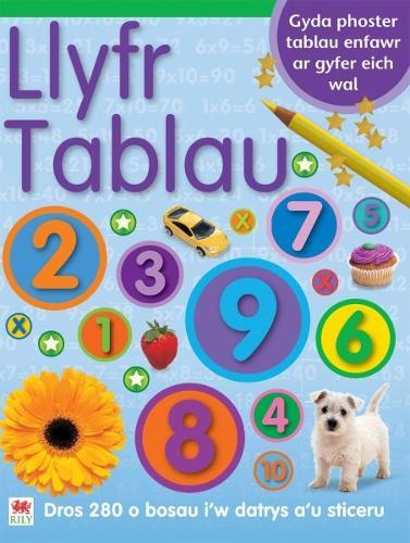 Llyfr Sticeri Tablau gyda Phoster Tablau (Paperback)