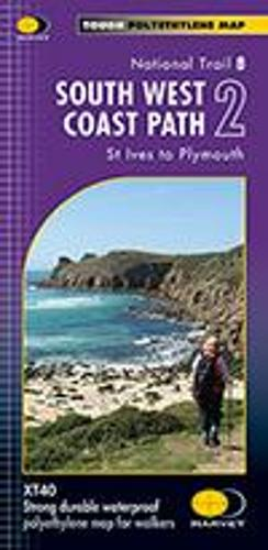 South West Coast Path 2 XT40: St Ives to Plymouth - Route Maps (Sheet map, folded)