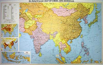 """The """"Daily Telegraph"""" China and Mongolia Wall Political Map: With India, S.E.Asia and Japan - """"Daily Telegraph"""" S. (Sheet map, rolled)"""