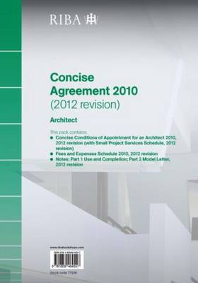 RIBA Concise Agreement 2010 (2012 Revision): Architect (Paperback)