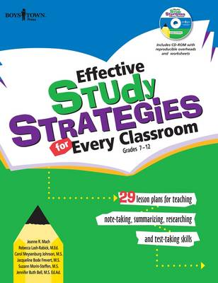 Effective Study Strategies for Every Classroom: 29 Lesson Plans for Teaching, Note-Taking, Summarizing, Researching and Test Taking Skills (Paperback)