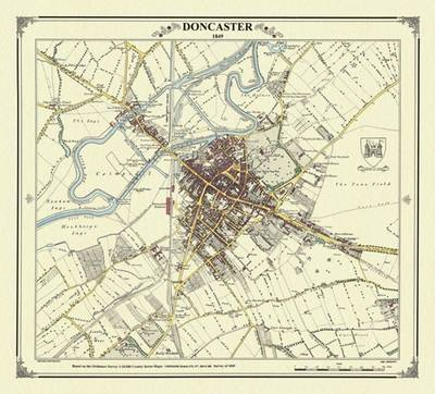 Doncaster 1849 Map by Peter J. Adams   Waterstones