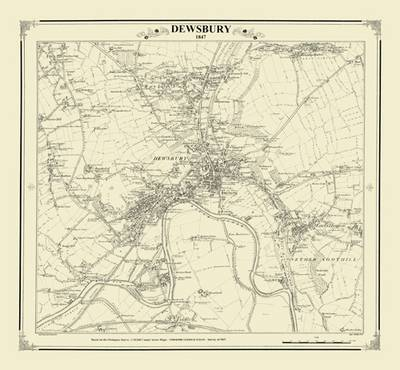 Dewsbury 1847 Map - Heritage Cartography Victorian Town Map Series (Sheet map, folded)