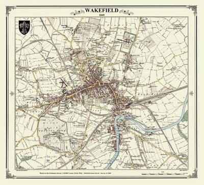 Wakefield 1844 Map - Heritage Cartography Victorian Town Map Series (Sheet map, folded)