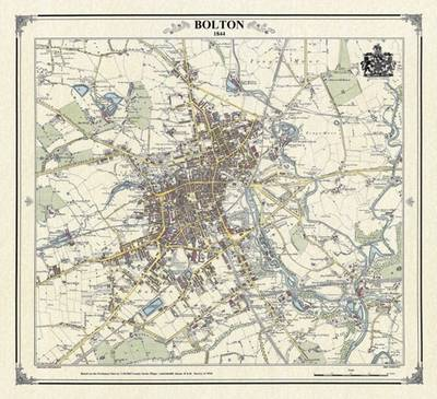 Bolton 1844 Map - Heritage Cartography Victorian Town Map Series (Sheet map, folded)