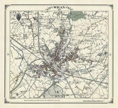 Wigan 1845 Map by Peter J Adams Waterstones