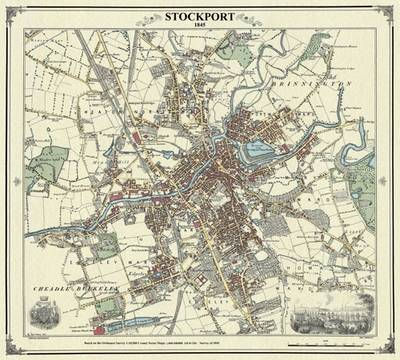 Stockport 1845 Map - Heritage Cartography Victorian Town Map Series (Sheet map, folded)