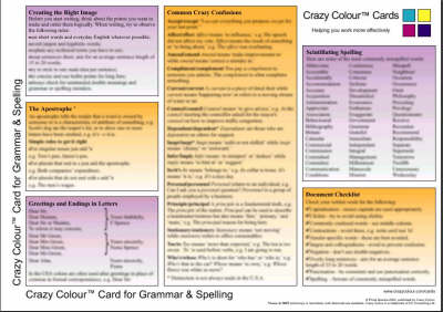 Crazy Colour Quick Reference Card for Grammar & Spelling: Crazy Colour Card for Grammar & Spelling