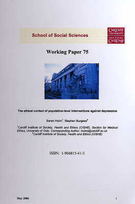 The Ethical Context of Population - Level Interventions Against Depression - Working Paper Series No.75 (Paperback)