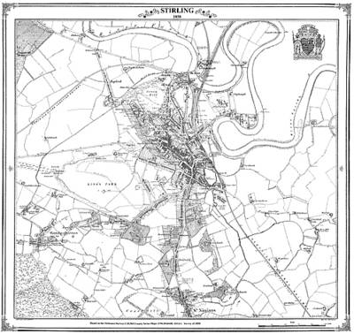 Stirling 1858 Map - Heritage Cartography Victorian Town Map Series (Sheet map, folded)