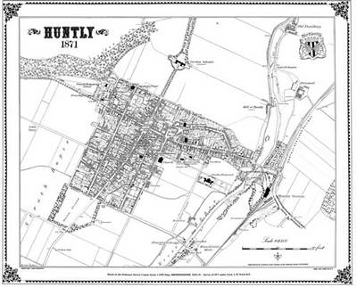 HUNTLY 1871 MAP - Heritage Cartography Victorian Town Map Series No. 173 (Sheet map)