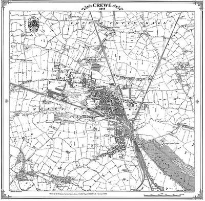 Crewe 1873 Map - Heritage Cartography Victorian Town Map Series No. 178 (Sheet map, folded)