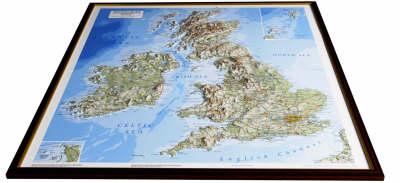 British Isles Raised Relief Map: Dark Wood Frame - Raised Relief Maps Series (Sheet map)