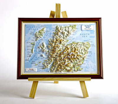 Scotland North Raised Relief Map: Light Wood Frame - Raised Relief Maps Series (Sheet map)
