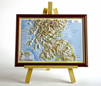 Scotland South Raised Relief Map: Light Wood Frame - Raised Relief Maps Series (Sheet map)