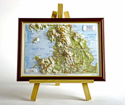 Northern England Raised Relief Map: Dark Wood Frame - Raised Relief Maps Series (Sheet map)